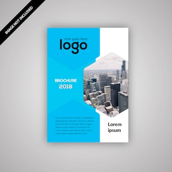 Geometric business flyer with blue and white design