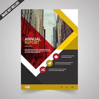 Geometric business flyer with red and yellow details