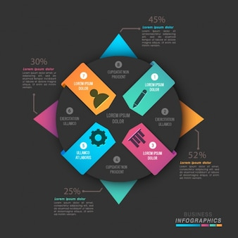 Geometric business infographic with colorful shapes