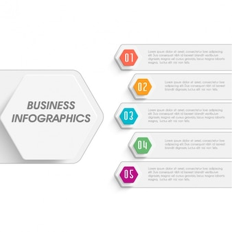 Geometric business infographic with five options