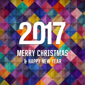 Geometric christmas and new year 2017 background