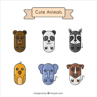 Geometric collection of six cute animals