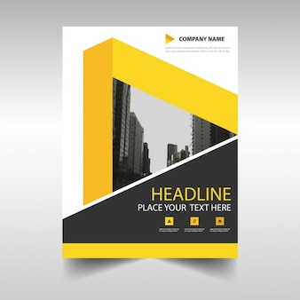 Geometric corporate brochure with yellow ribbons