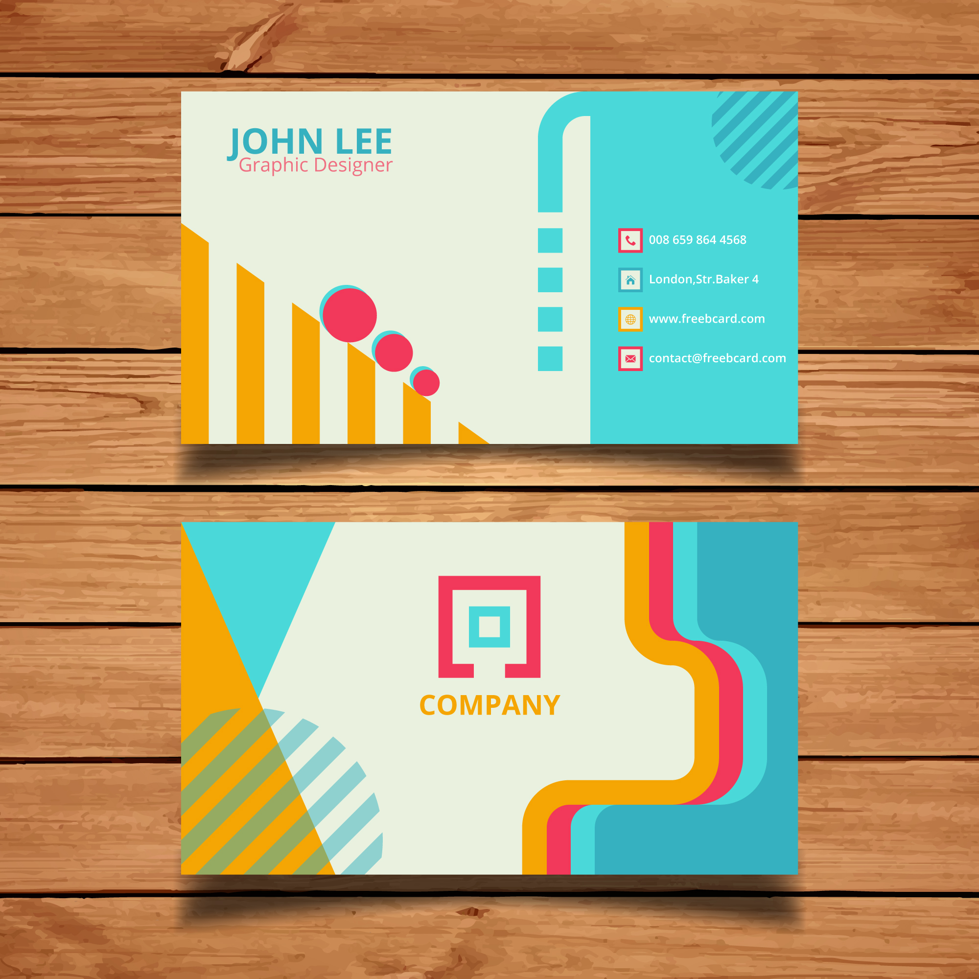 Geometric corporate card with vivid colors