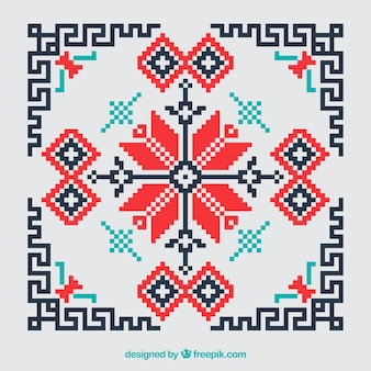 Geometric cross stitch red and black background