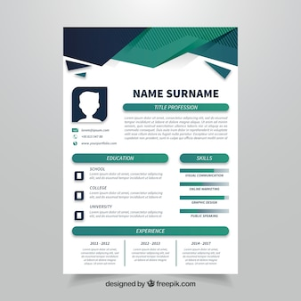 Geometric curriculum template with flat design