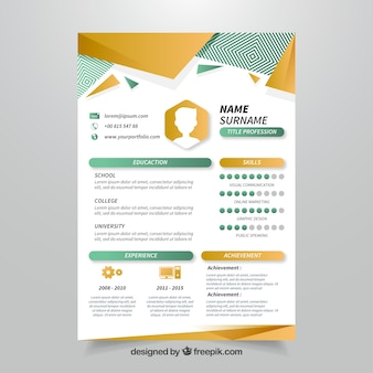Geometric curriculum template with modern style