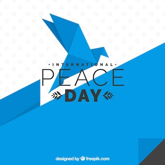 Geometric dove with flat design for peace day