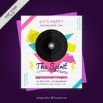 Geometric eighty party poster with  vinyl