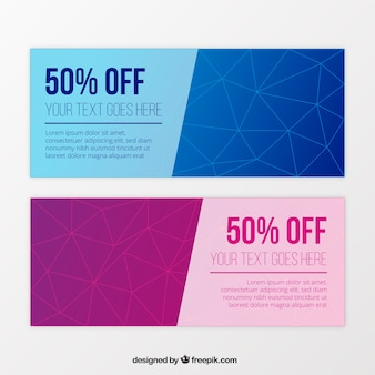 Geometric gift vouchers in blue and purple tones
