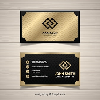 Geometric golden business card