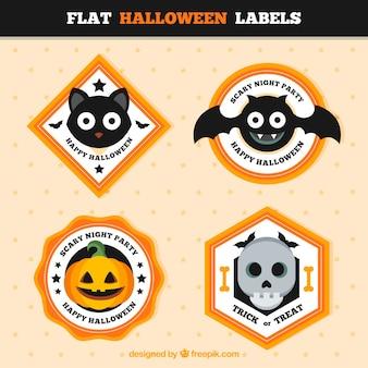 Geometric halloween stickers in flat style