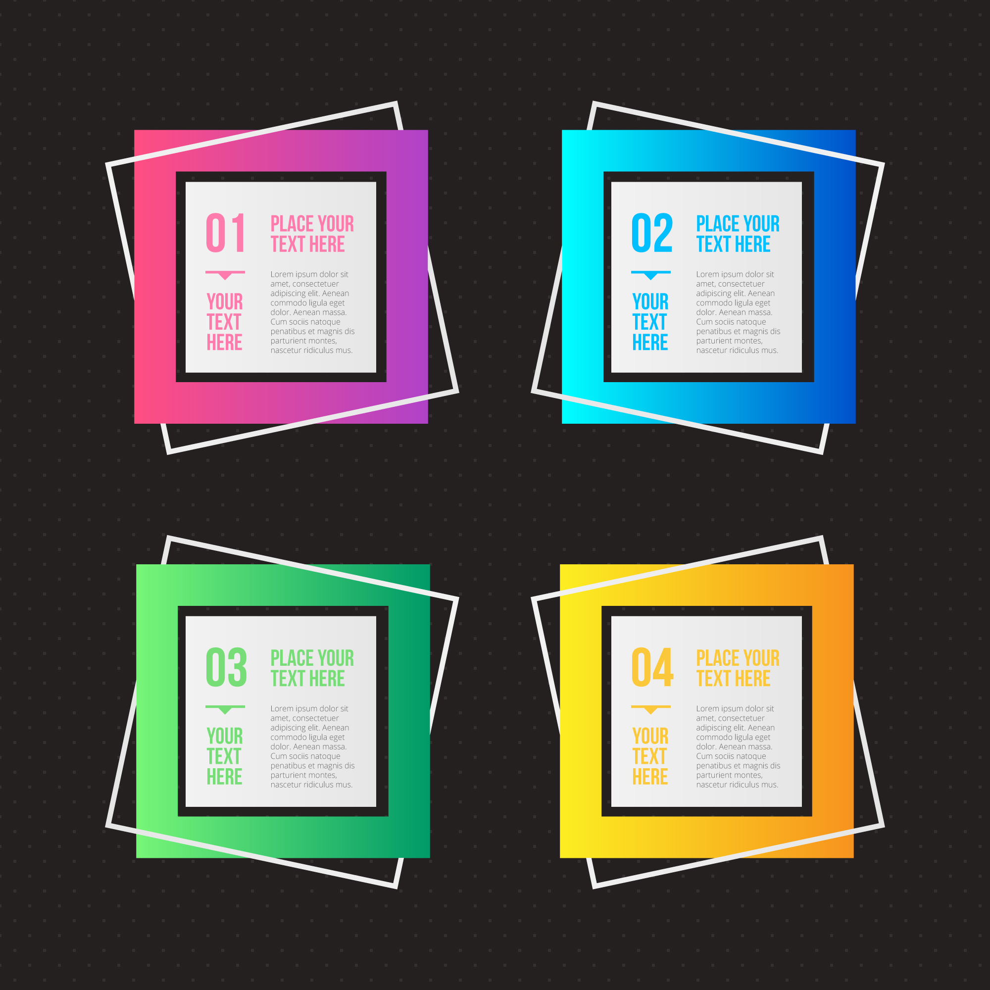 Geometric infographic options with different colors