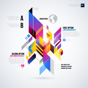 Geometric infographic with a futuristic style