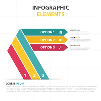 Geometric infographics with 3 colors