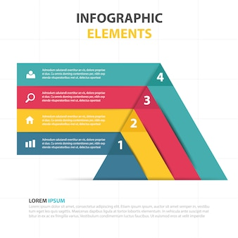 Geometric infographics with four colors