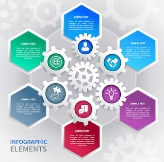 Geometric infographics with hexagons