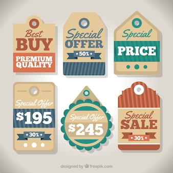 Geometric labels with special offers in vintage style