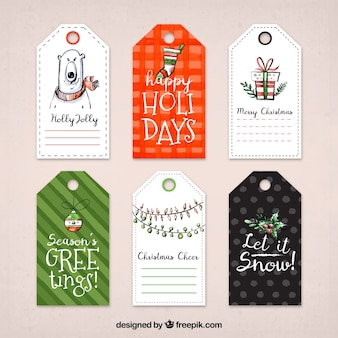Geometric labels with watercolor elements for christmas