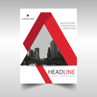 Geometric leaflet with red triangular shapes