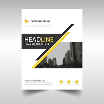 Geometric leaflet with yellow and black lines