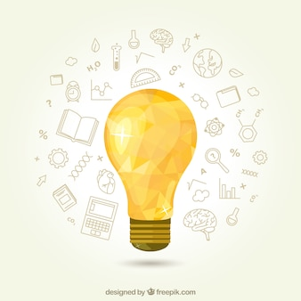 Geometric light bulb with icons