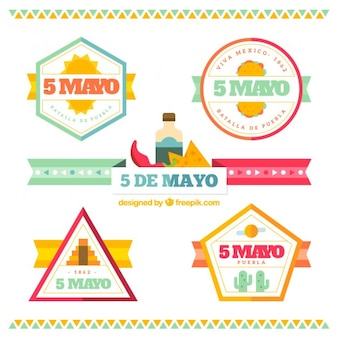 Geometric may five badges in flat design