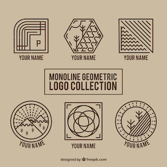 Geometric monoline nature logos