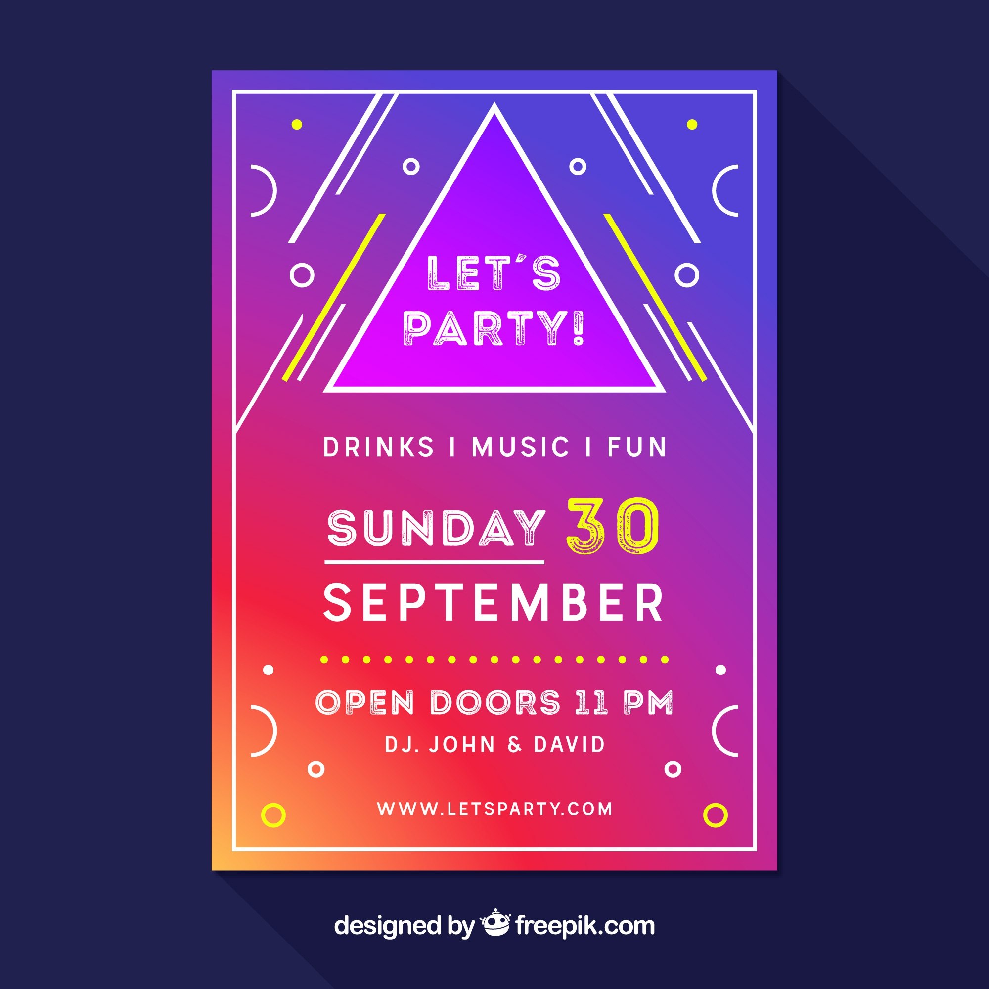 Geometric party poster with colorful style