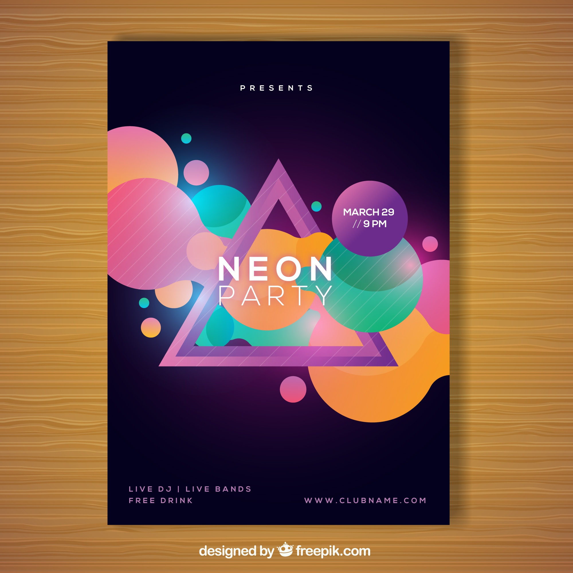 Geometric party poster with neon style