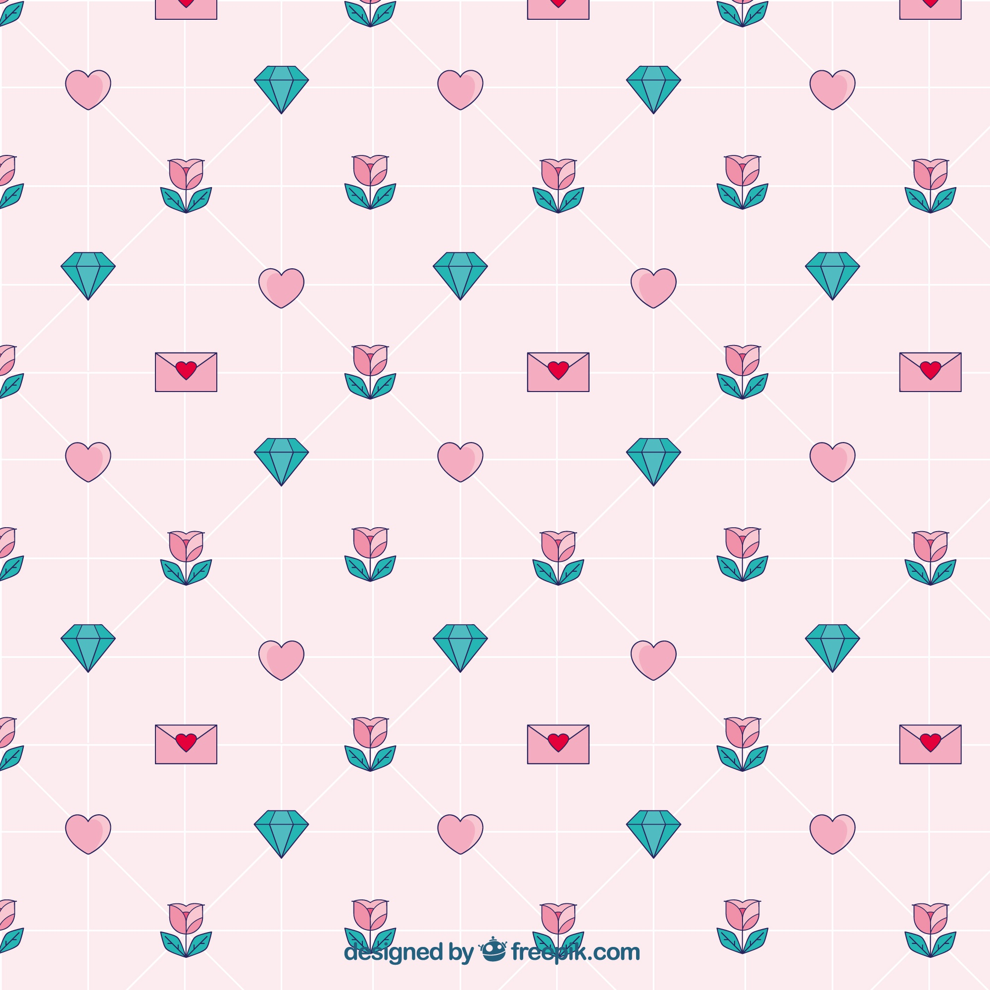Geometric pattern with beautiful elements ready for valentine's day