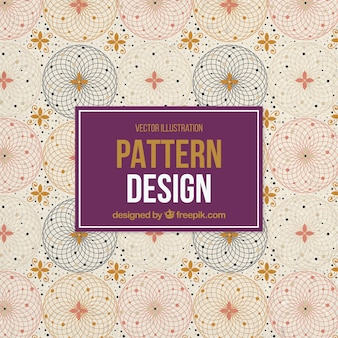 Geometric pattern with flowers and spheres