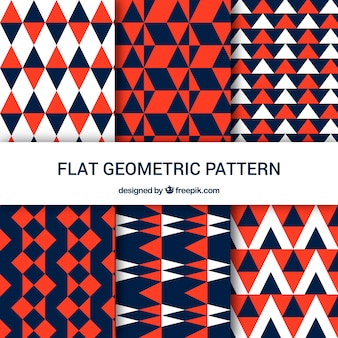Geometric patterns of triangles in three colors