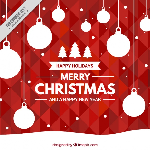Geometric red background with christmas balls