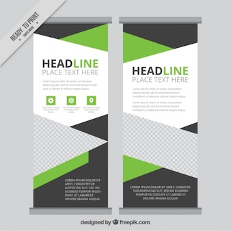 Geometric roll up template with green details
