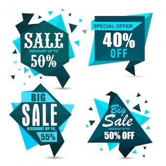 Geometric sale banners in blue tones