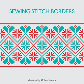 Geometric sewing stitch border red and green