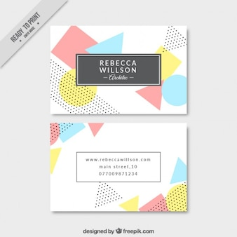 Geometric shapes in pastel tones business card