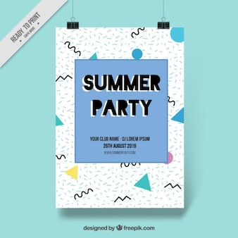 Geometric shapes summer party poster