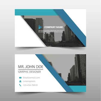Geometric style blue business card