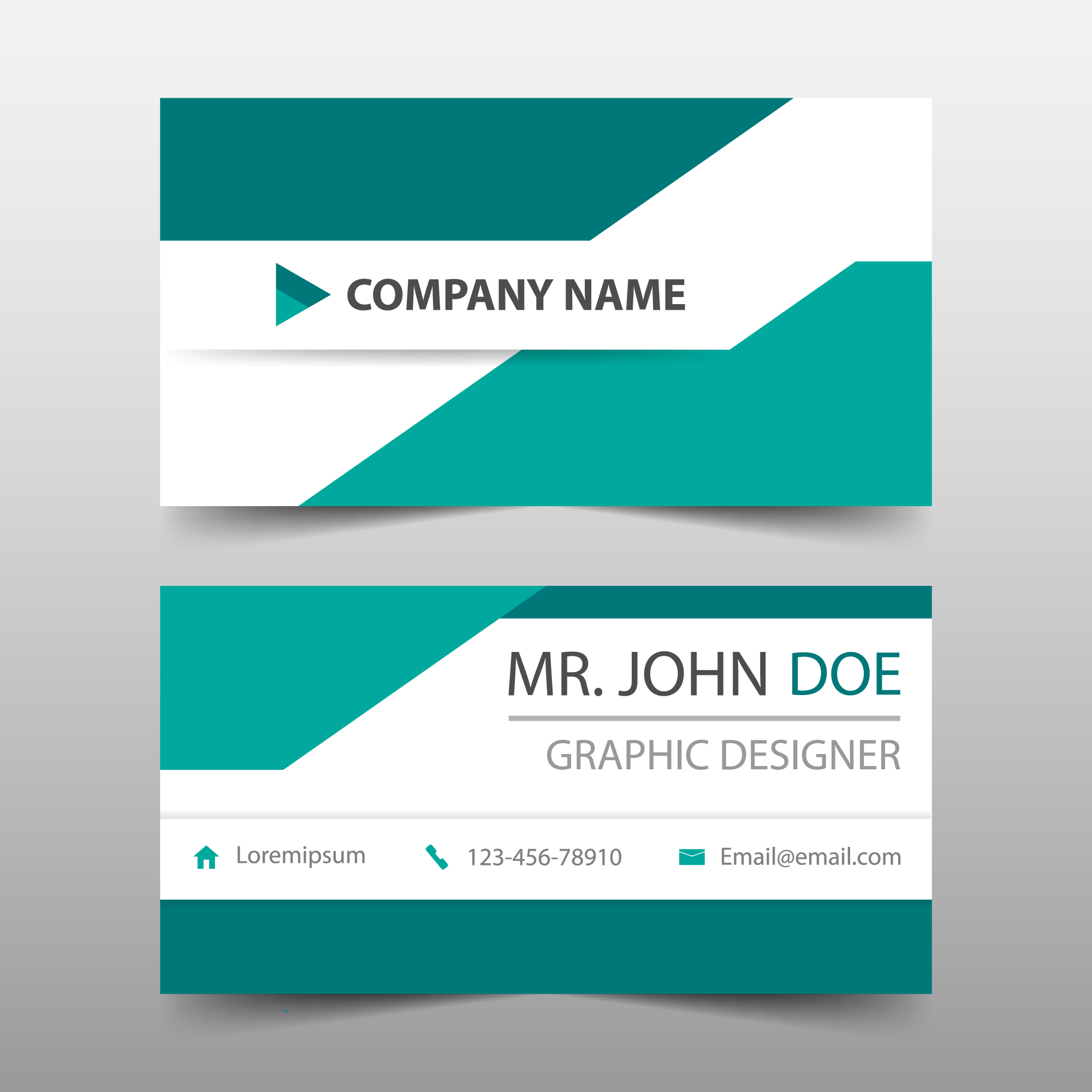 Geometric style bluish green business card