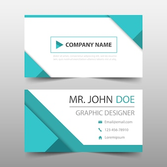 Geometric style turquoise business card