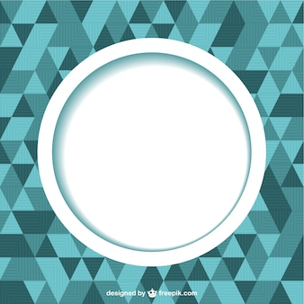 Geometric triangles background with big white circle