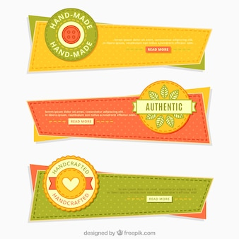 Geometric vintage craft banners