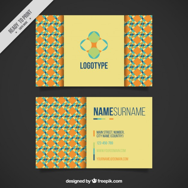 Geometric visit card in orange tones