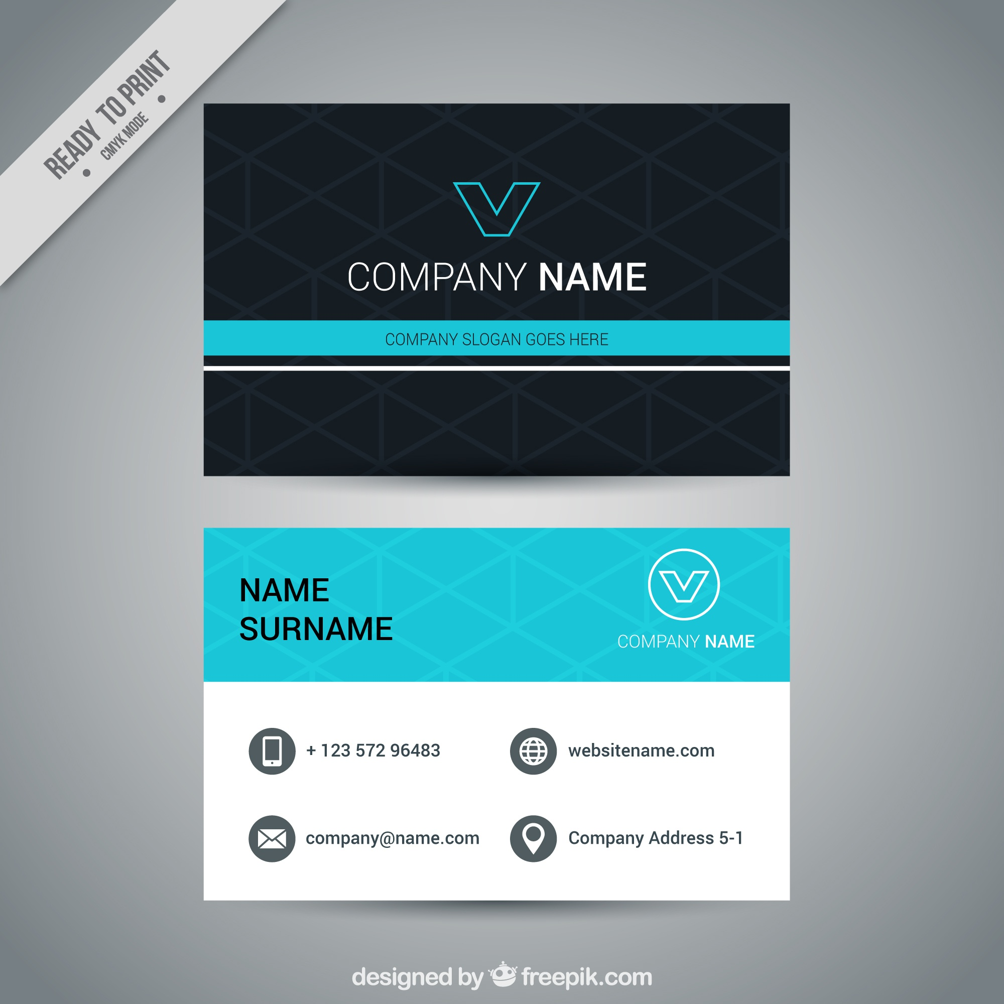 Geometric visiting card with blue details