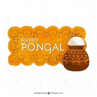 Geometric watercolor banner with rice for pongal