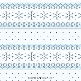Geometric winter pattern with snowflakes