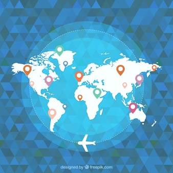 Geometrical background world map with airplane