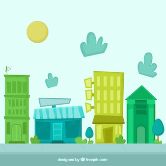 Geometrical hand painted city background